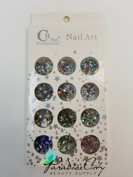 CH #07 Nail Art Assorted Colors Stars Rhinestones
