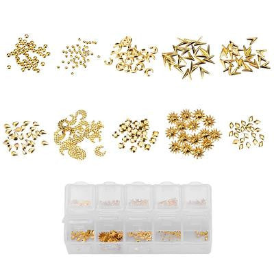 BMC The Golden Goddess - 10 Different Gold Colored Nail Art Metal Studs
