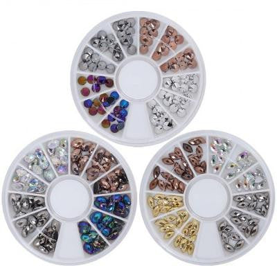 BMC So Metal 3 Wheel Nail Art Studs - Spikes, Ovals + Marquises
