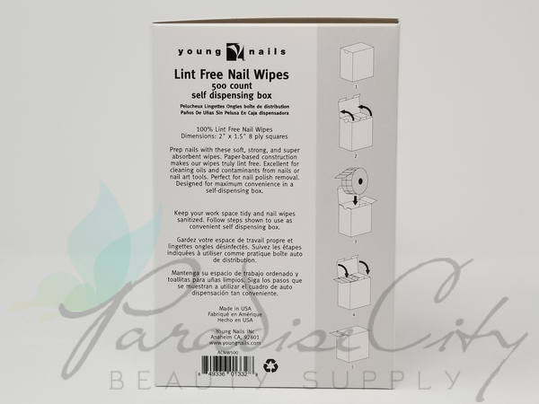 Young Nails - Lint Free Nail Wipes 500 Count Self Dispensing Box