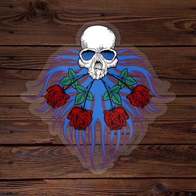 Skull & Roses - Throwback Sticker