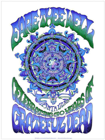 Fare Thee Well Poster: Blue Mandala Diptych Santa Clara Lithograph