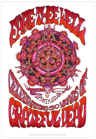 Fare Thee Well Poster: Red Mandala Diptych Santa Clara Lithograph