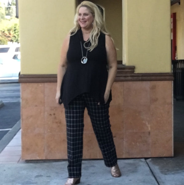 California Plus size designer in her famous slimming stretch pant