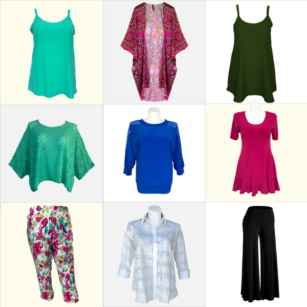 Brightly colored vacation wardrobe for plus size and missy women