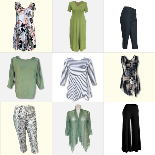 Sage green, black, and blue capsule collection for plus-sized and missy women