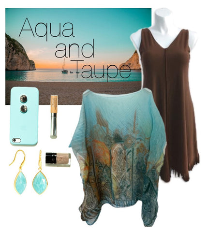 Aqua blue Taupe spring palette for plus size