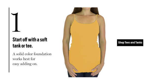 Step one is choosing a light tee or tank when layering for Fall
