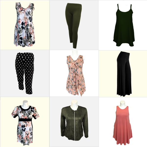 Olive green, pink and black dresses for plus sized women
