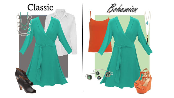 Two ways to wear our Plus Size Wrap dress, classic and bohemian