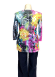 Hacci printed 3/4 sleeved tee in Jewel Toned Roses