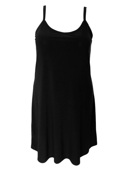 Ladies tunic dress that flares from waist for a figure flattering silhouette in black.