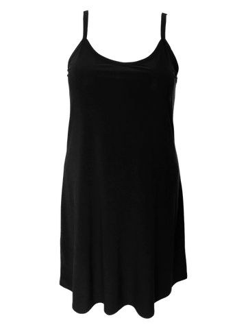 Plus size black camisole slip dress