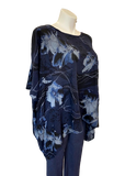 Floral Viscose Batwing Top in Navy