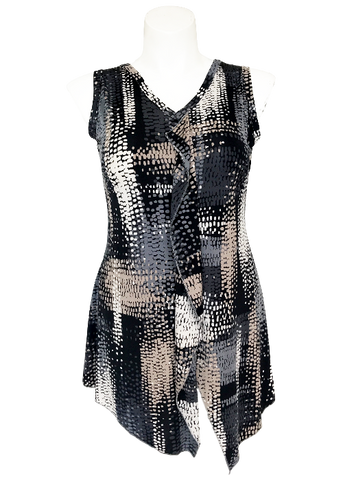 Printed Greys Ruffled Front Blouse For Missy and Curvy Women