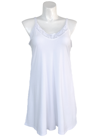 Essential Cami Tunic Slip Dress White Lace