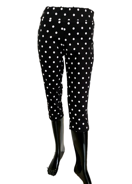 Black and White Polka Dot Stretch Comfort Capri Great For Missy And Plus Size Women