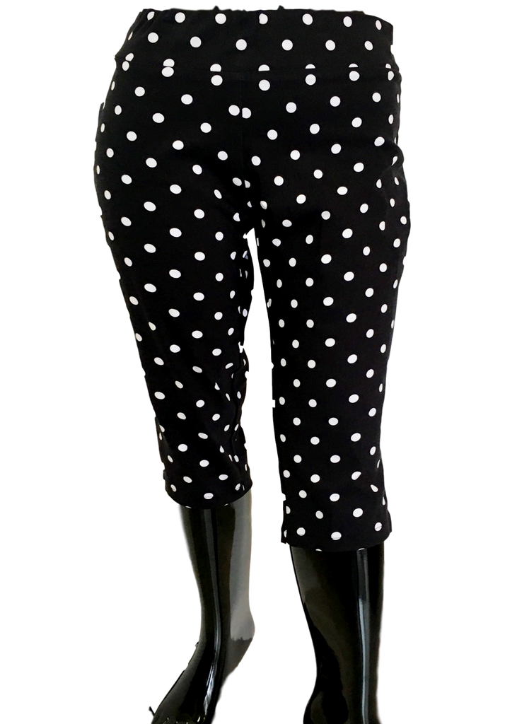 Stretch Comfort Capri Black and White Polka Dot