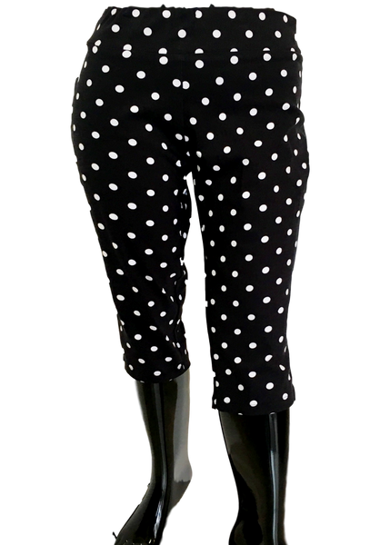 Black and White Polka Dot Stretch Comfort Capri Great For All Figures
