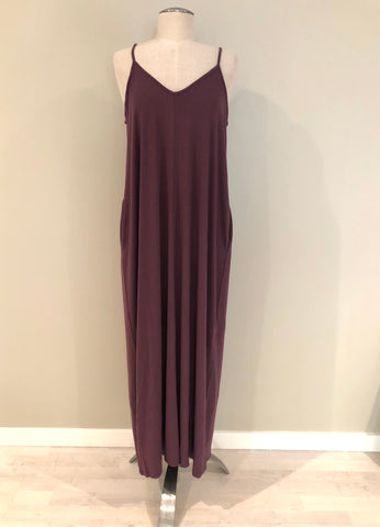 Adjustable Strap Pocketed Maxi Dress in Eggplant