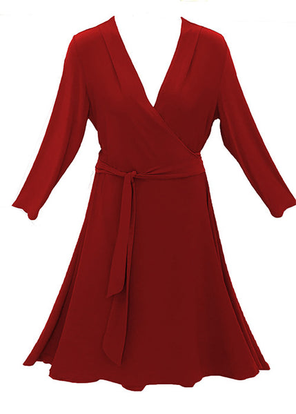 Plus size and missy classic red wrap dress for sizes 2-26