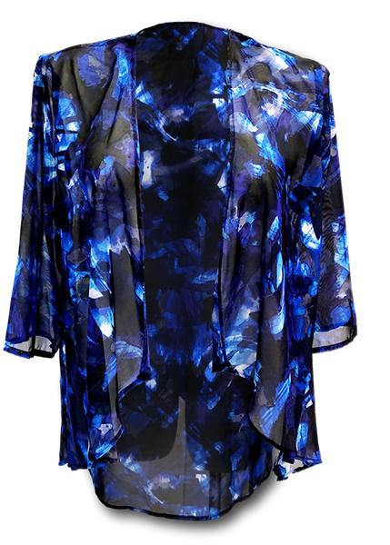 Sheer chiffon kimono style in a blue purple and black print perfect to dress up for a dinner out or pair with a t-shirt and jeans