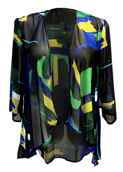 green and gold abstract printed kimono jacket perfect for weddings or vacations for missy and plus size women