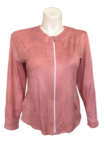 Vegan Leather Moto Jacket in Blush Pink