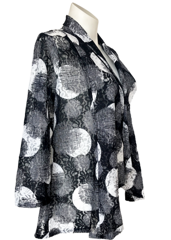 Black and white lace jacket with lapel for missy and plus size women