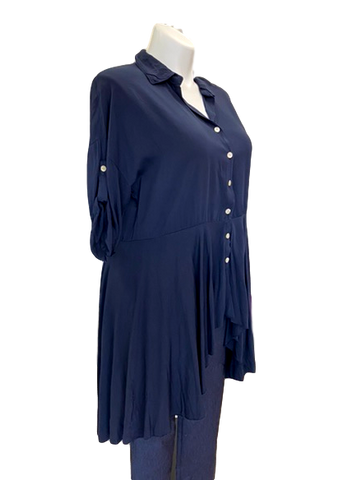 Viscose Hi-Lo Button Down Tunic in Navy