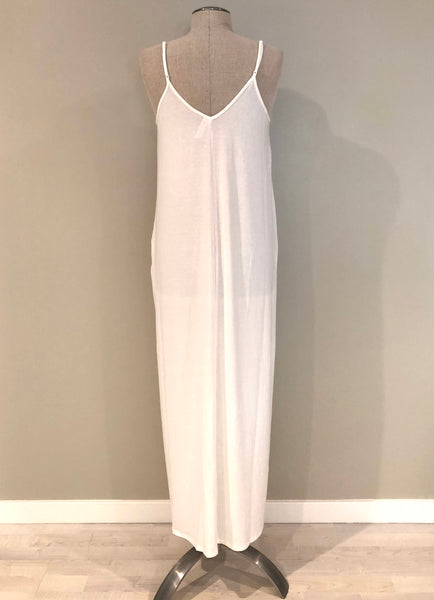 Adjustable Strap Pocketed Maxi Dress in Ivory