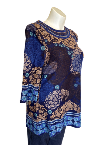 Printed Tunic with Embroidered Neck Line in Navy and Taupe