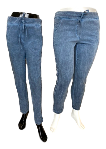 Stretch Viscose Pull on Pant with Shimmer Stripe in Denim