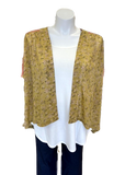 Two Toned Cropped Kimono Jacket in Gold and Rose