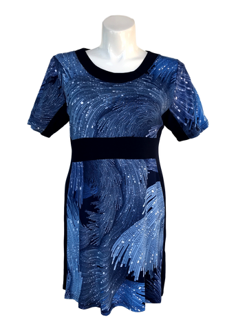 Dark blue colorblock dress for missy and plus size women
