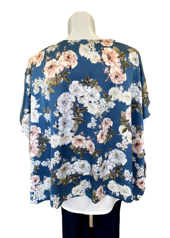 Two Tone Kimono Jacket in Blue and Blush Rose