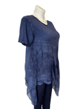 Short Sleeved Viscose and Silk Handkerchief Hem Top in Denim