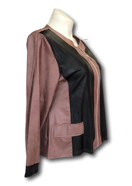 Vegan Leather Moto Jacket in Two Tone Taupe and Black