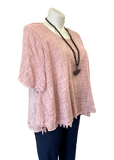 Cotton Lattice Stitch Top in Blush