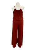 Pocketed Jumpsuit with Bloused Waist in Brick