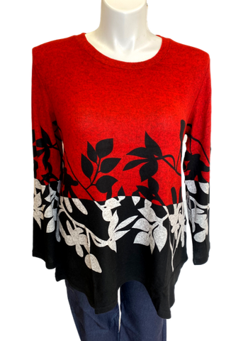 Super Soft Leaf Printed Tunic Top in Red