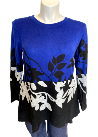 Super Soft Leaf Printed Tunic in Royal