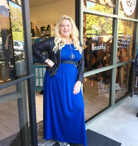 royal blue long sleeved pocketed maxi dress for missy and plus size women perfect for casual or dressy occassions