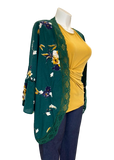 Loophole Kimono Cardigan in Green, Gold, and Navy Floral