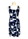 Sleeveless Fit and Flare Dress in Navy and White