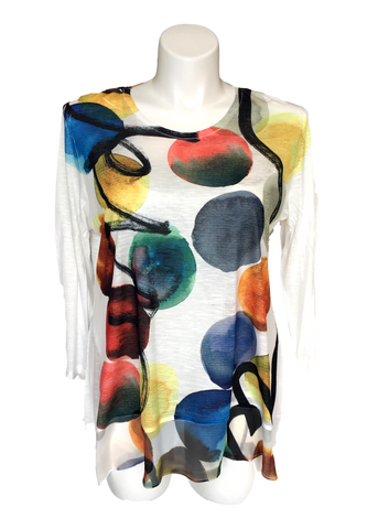 Chiffon Flutter Tunic Top in Multicolored Circles