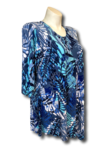 shades of blues and aqua leaf printed asymmetrical tunic top for missy and plus size women