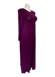 Gathered Waist Pocketed Maxi Dress in Plum
