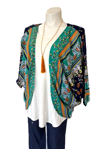Cocoon Kimono Jacket in Navy and Kelly Green