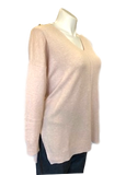 V-Neck Center Seam Viscose Sweater in Apricot